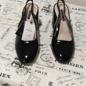 ZARA BLACK LEATHER SLING BACK SHOE